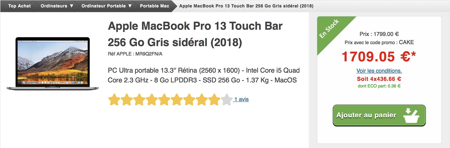 MacBook Pro promo Top Achat