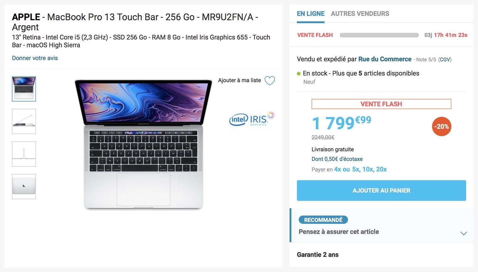 MacBook Pro 13 2018 vente flash Rue du Commerce