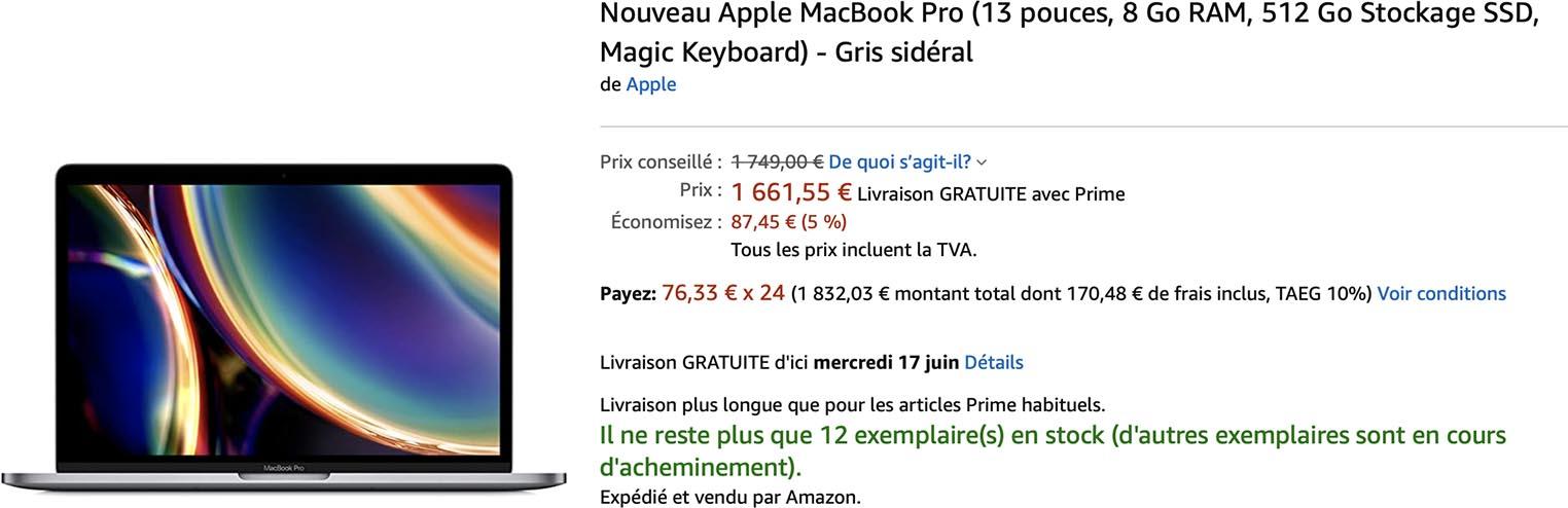 MacBook Pro 13 pouces 2020 Amazon