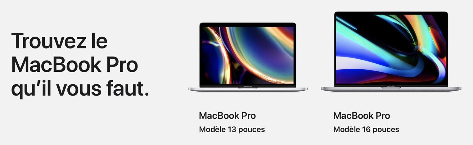 Trouvez le MacBook Pro qu'il vous faut 2020