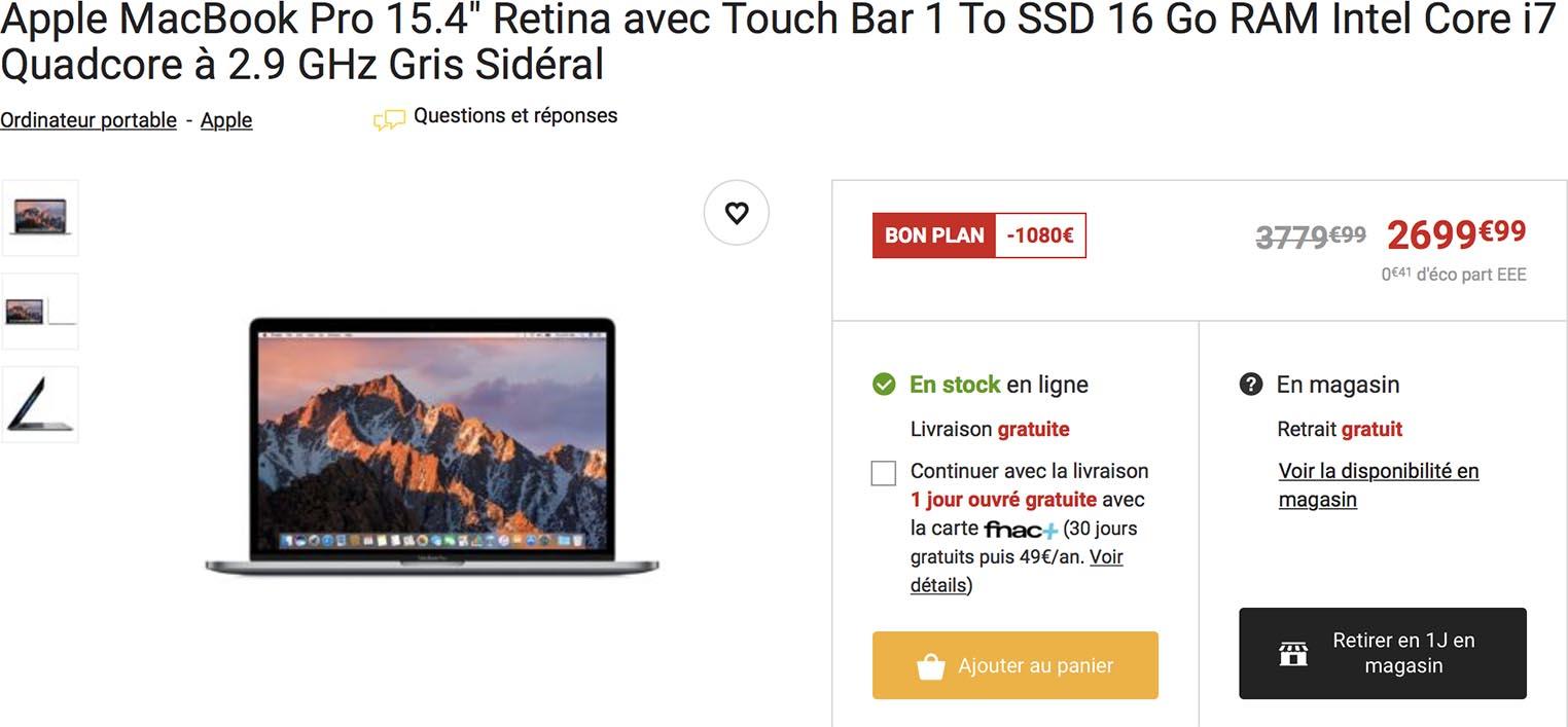 MacBook Pro 15 Fnac