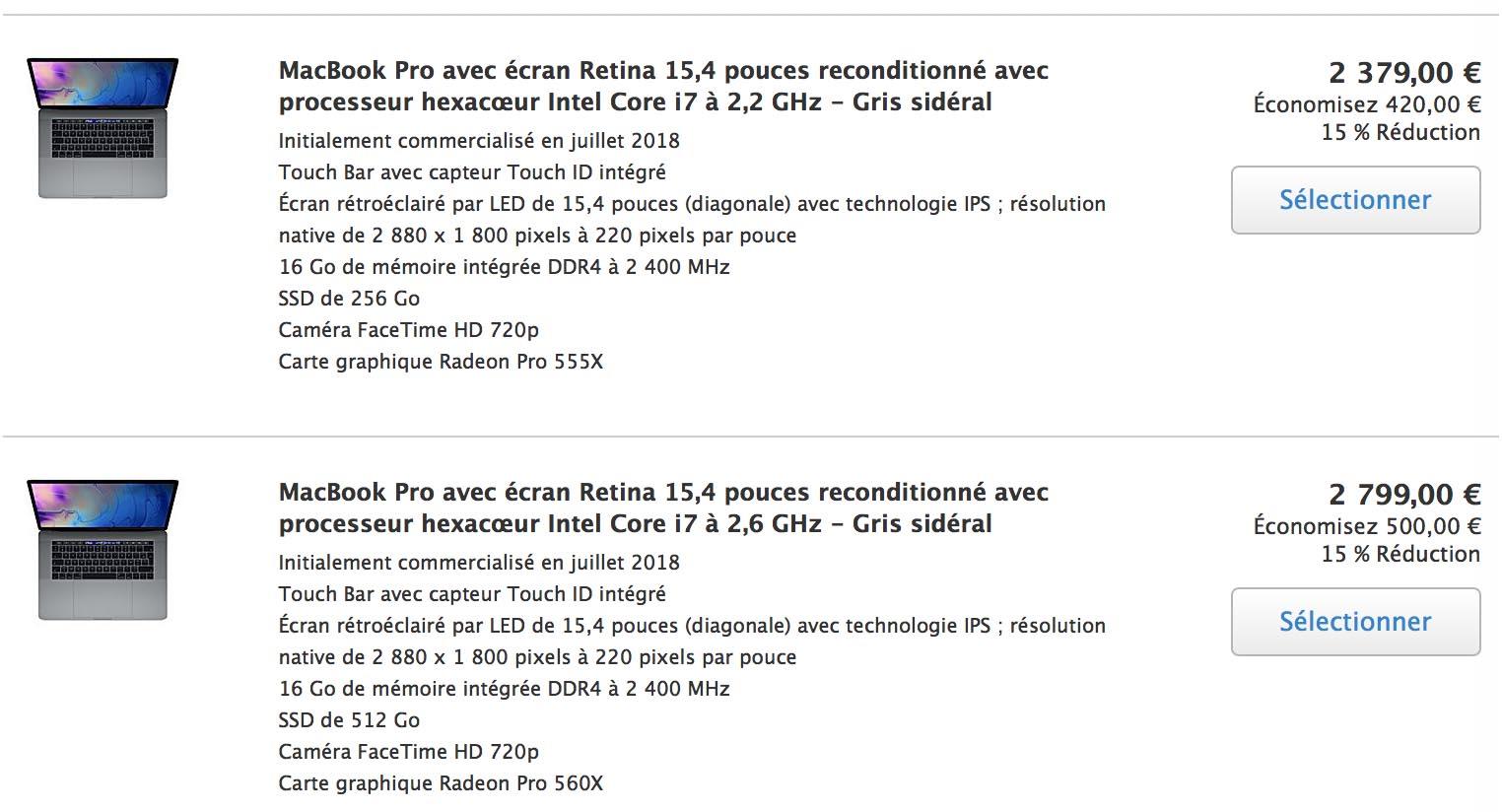 MacBook Pro 15 2018 Refurb Store