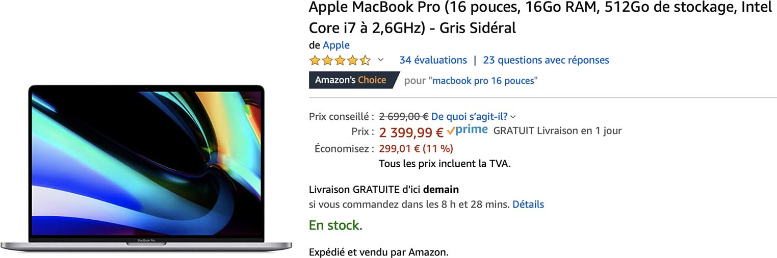 MacBook Pro 16 Amazon