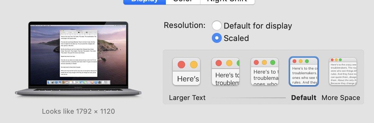 MacBook Pro 16 pouces résolution