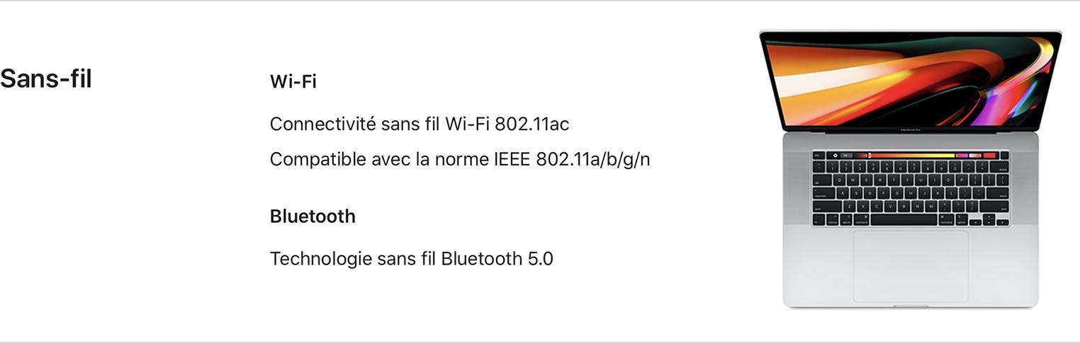 MacBook Pro 16 pouces Wi-Fi