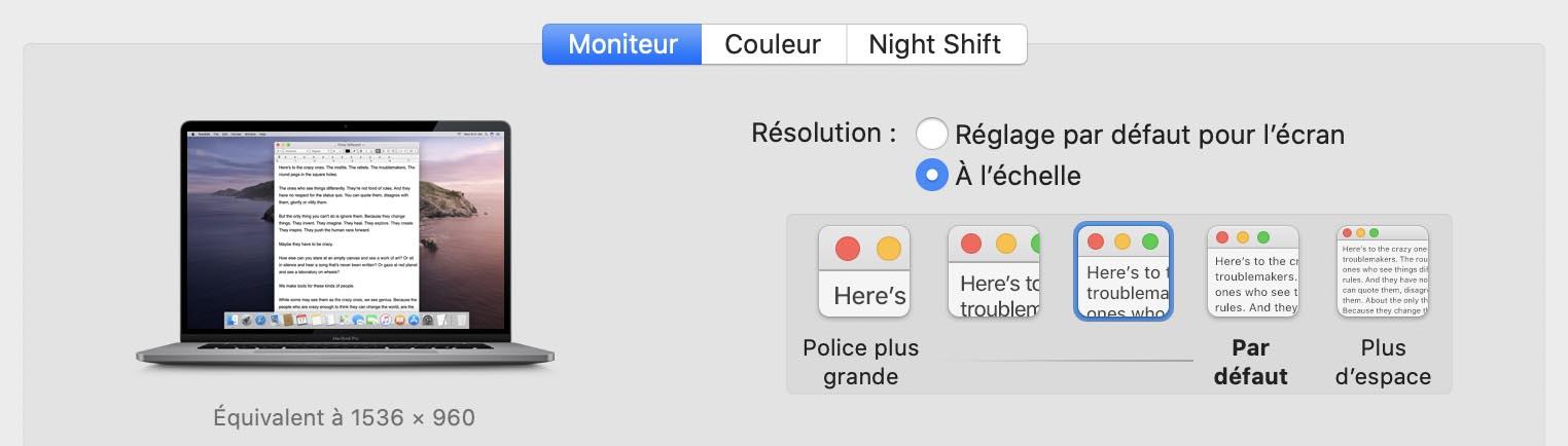 MacBook Pro 16 pouces définitions d'écran