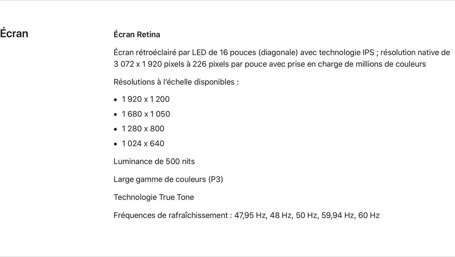 MacBookPro 16 définitions d'écran