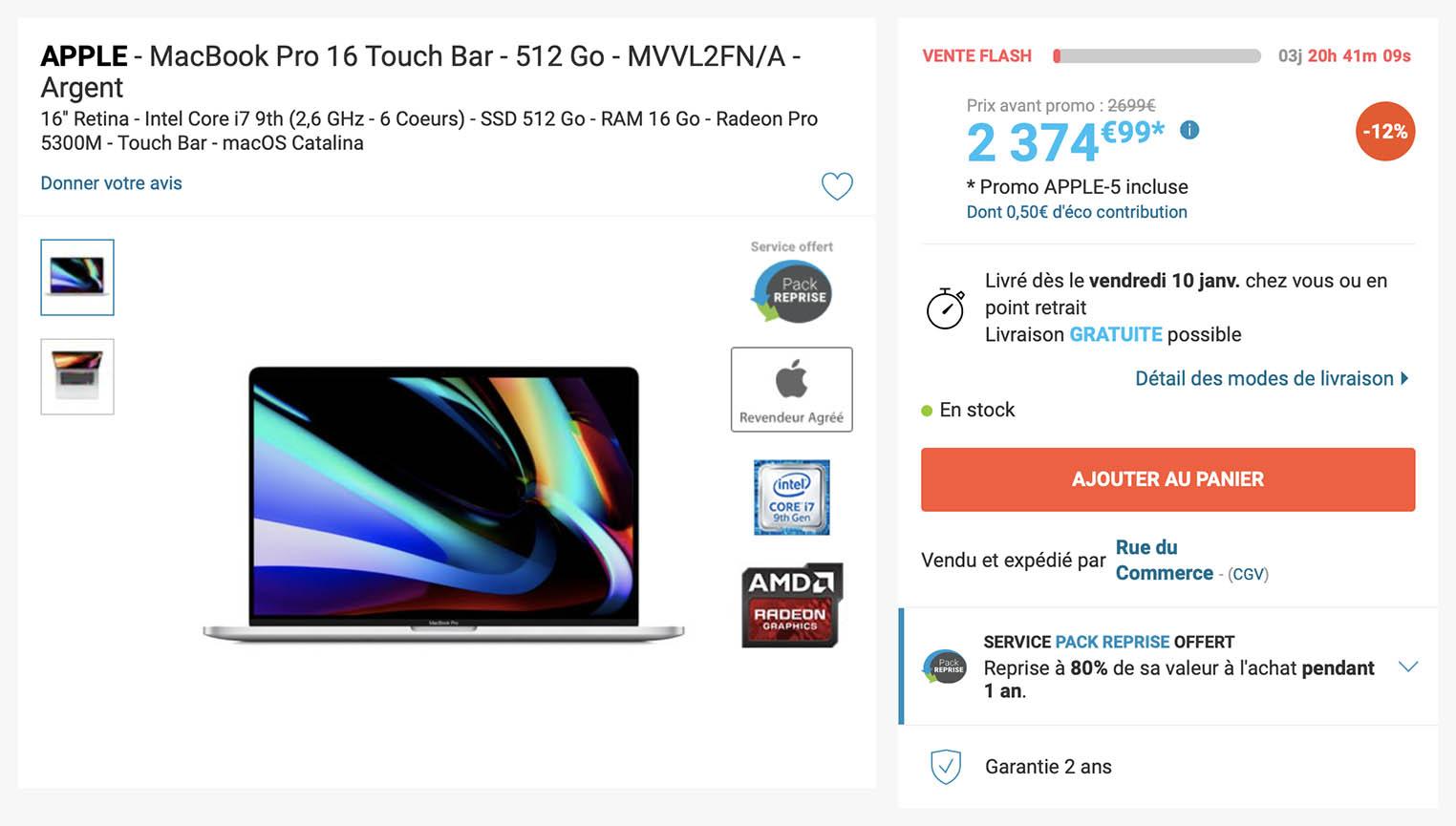 MacBook Pro 16 vente flash Rue du Commerce