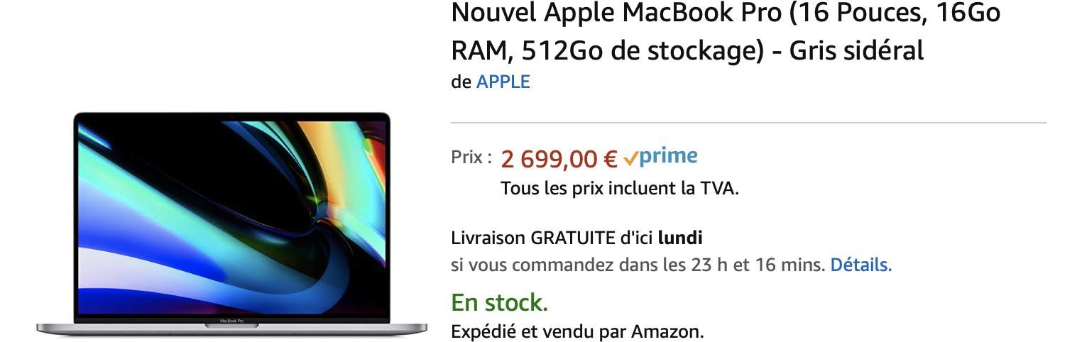 MacBook Pro 16 pouces Amazon