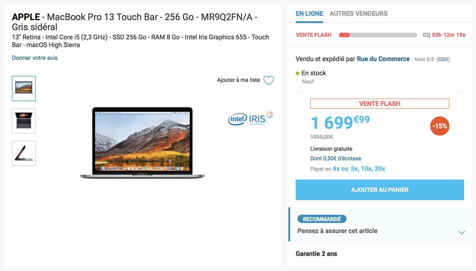 MacBook Pro 2018 vente flash Rue du Commerce