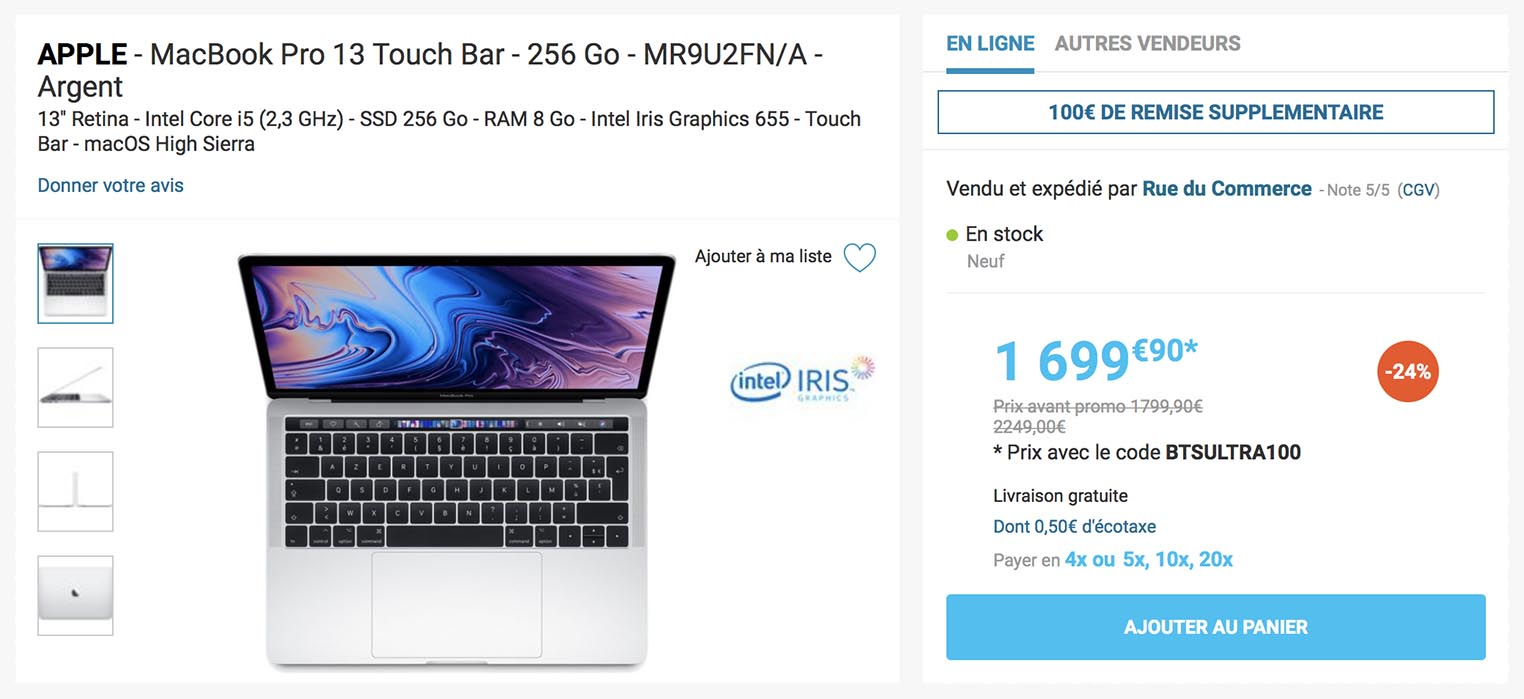 MacBook Pro 2018 Rue du Commerce