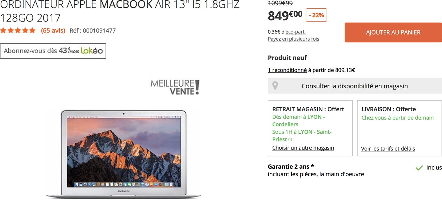 MacBook Air promo Boulanger