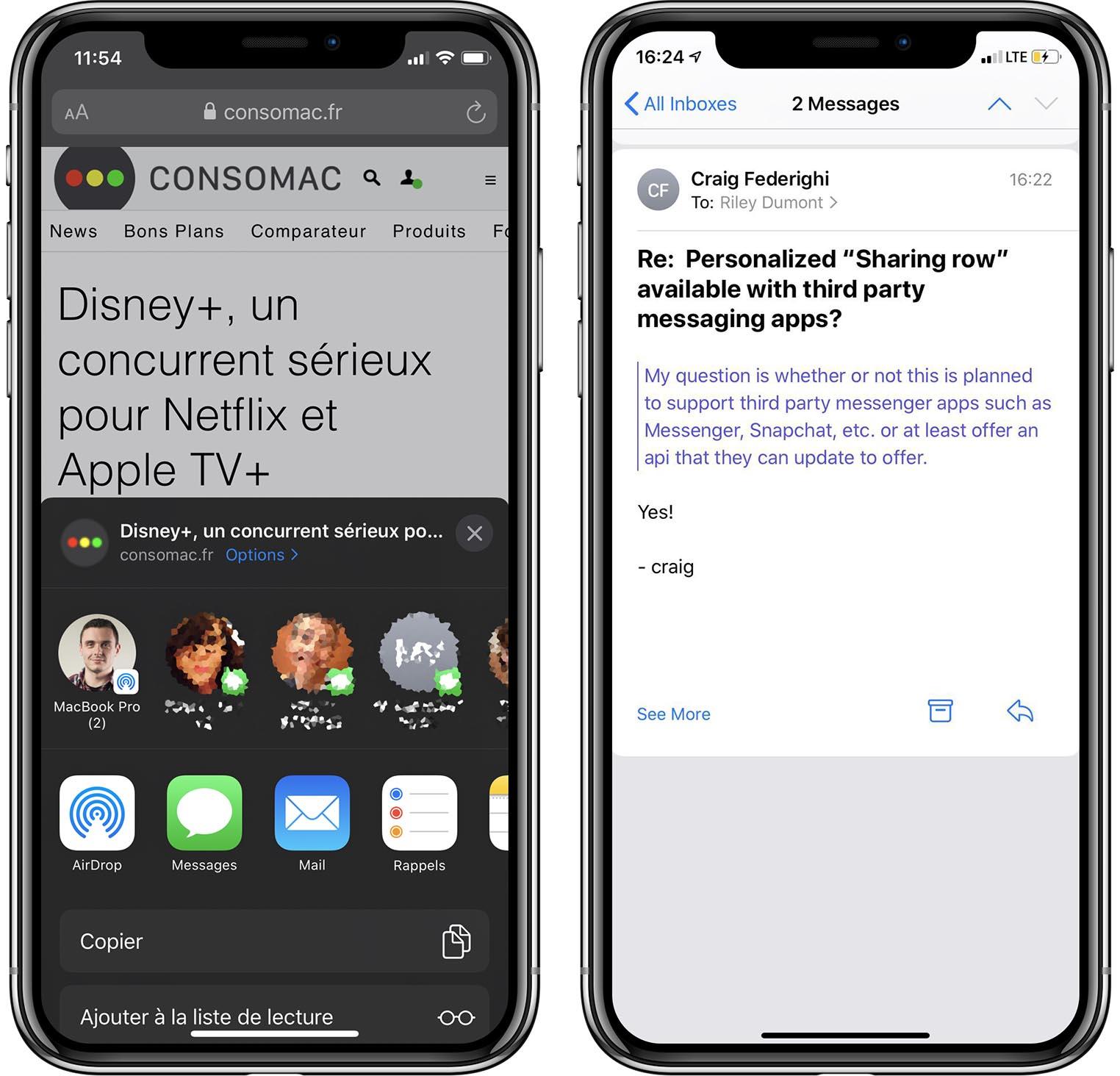 Menu partage iOS 13