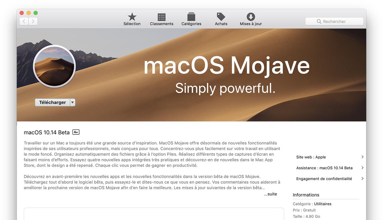 macOS 10.14 Mojave bêta publique