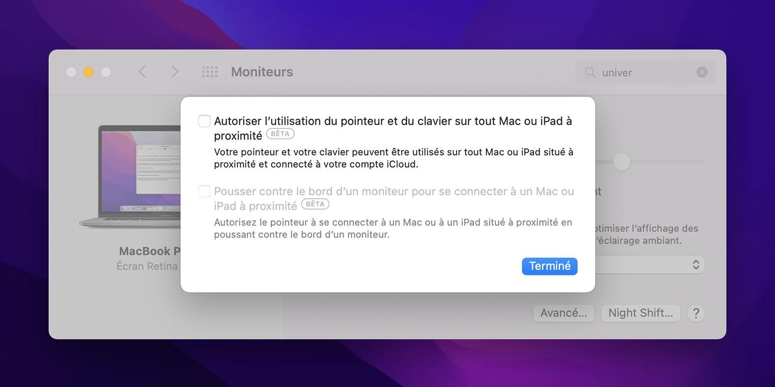 macOS Monterey réglages Commande universelle