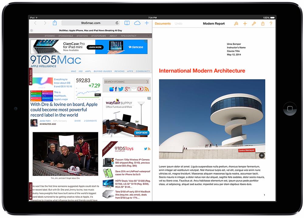 Un mode multi-fenêtres pour iOS 8 sur iPad ?