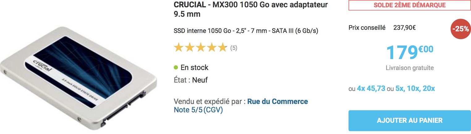 Crucial MX300 Rue du Commerce
