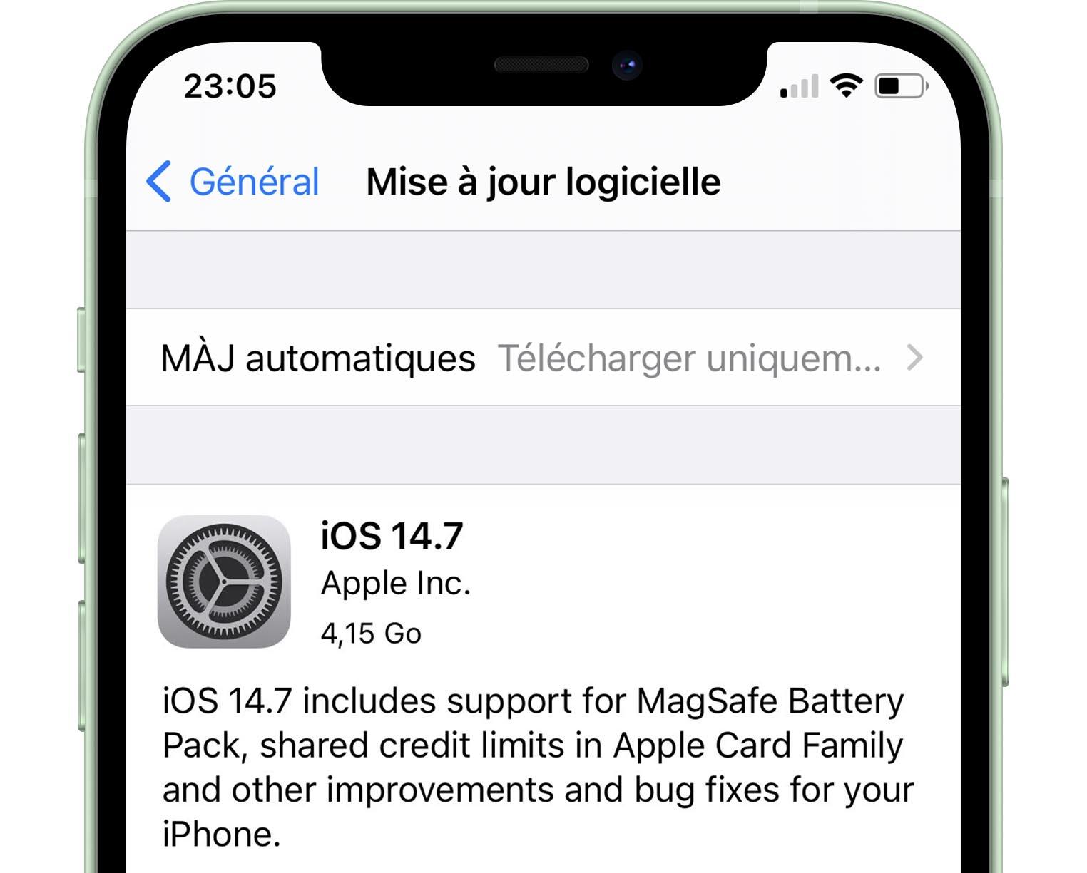 Mise à jour iOS 14.7 RC