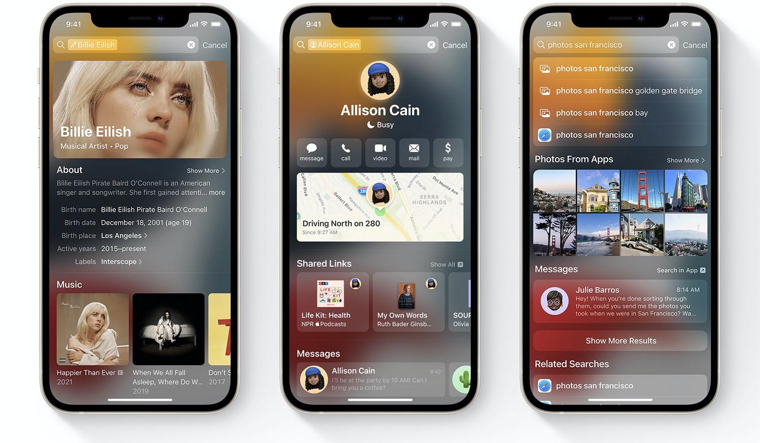 Recherche Spotlight iOS 15