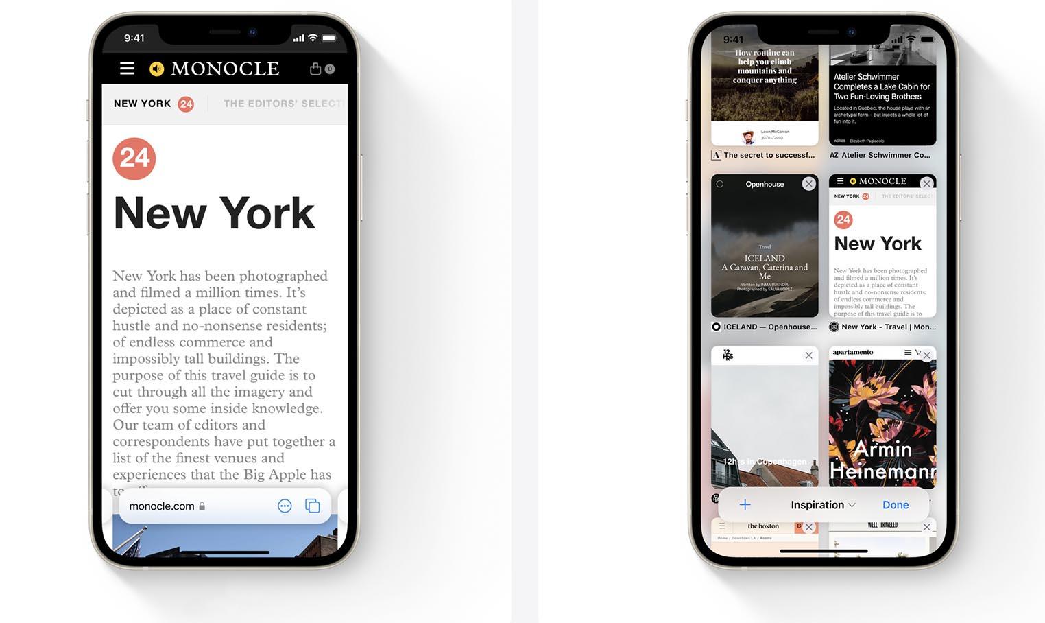 Onglets Safari iOS 15