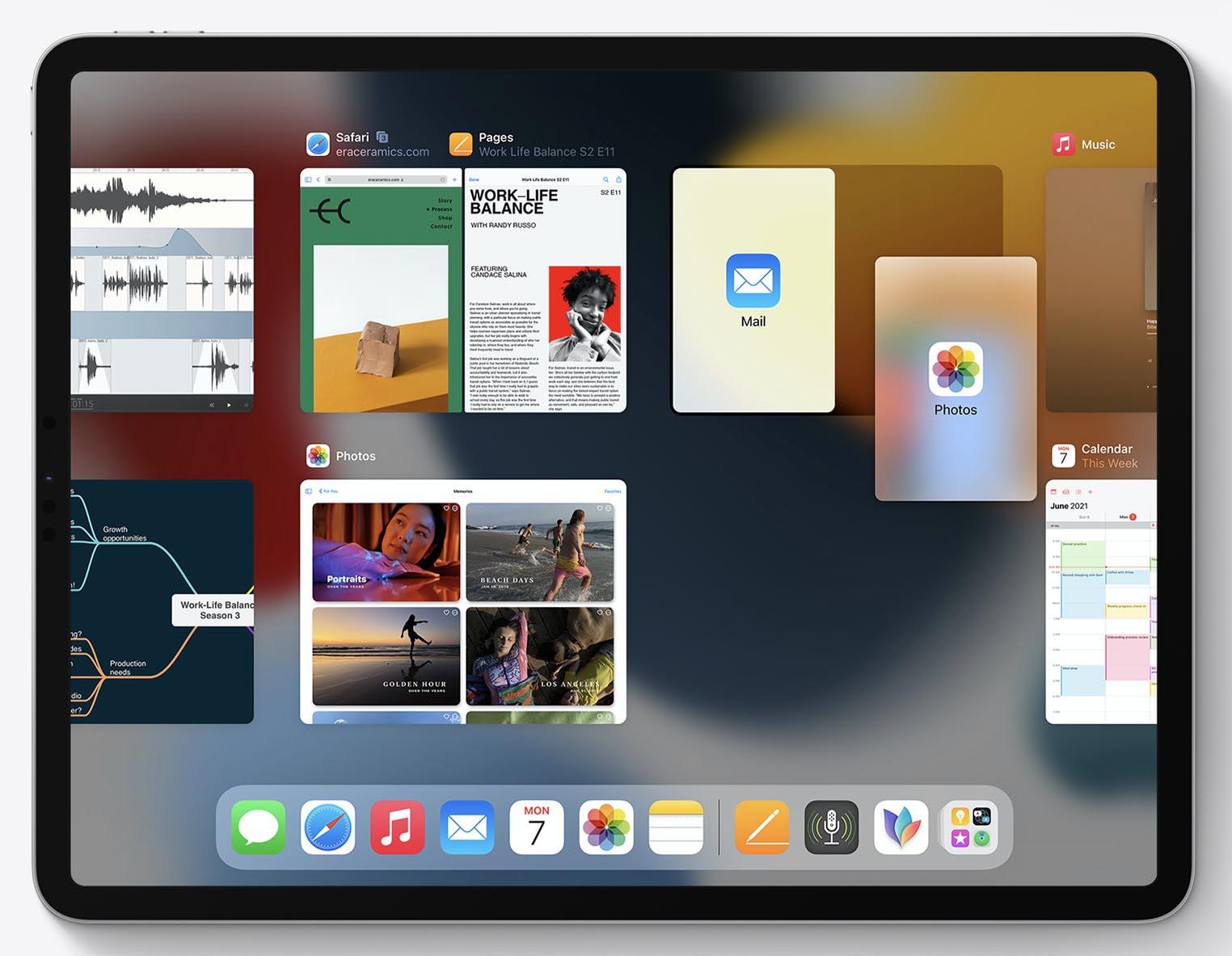 iPadOS 15 Split View Sélecteur