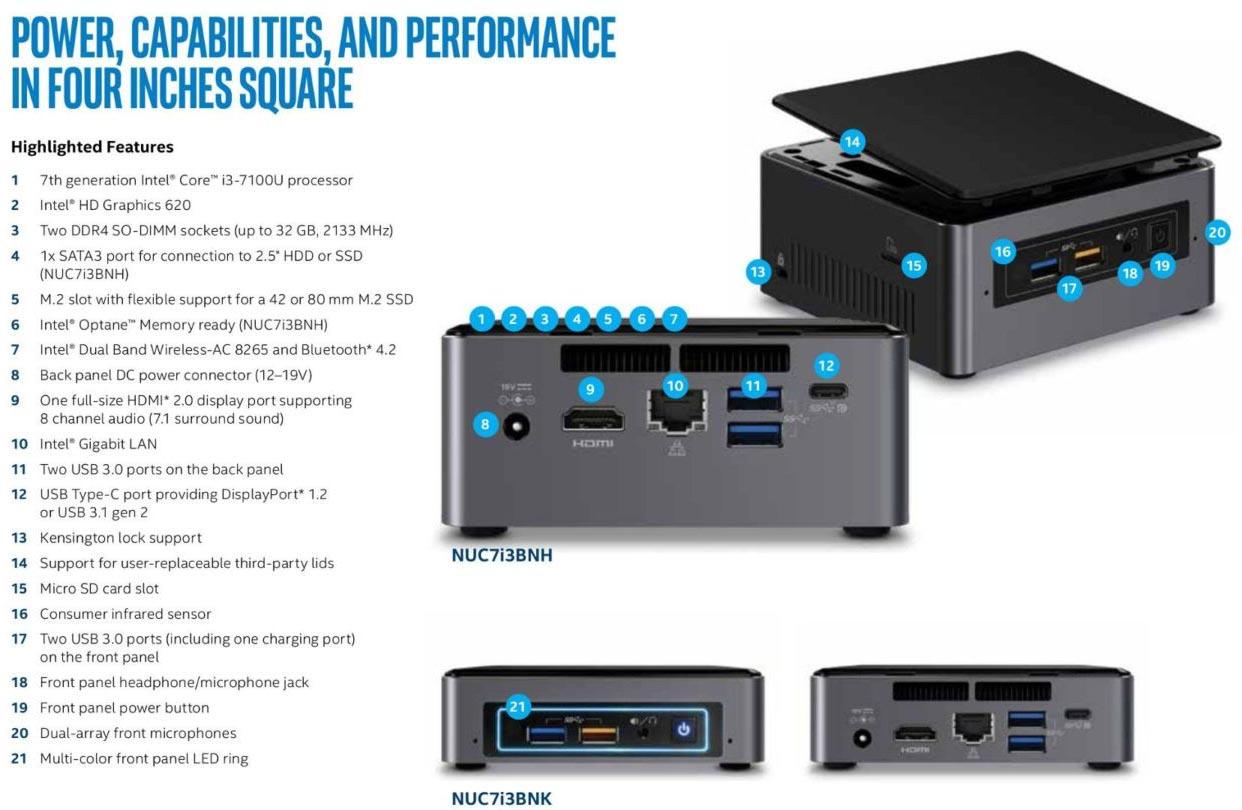 Intel NUC Kaby Lake specs