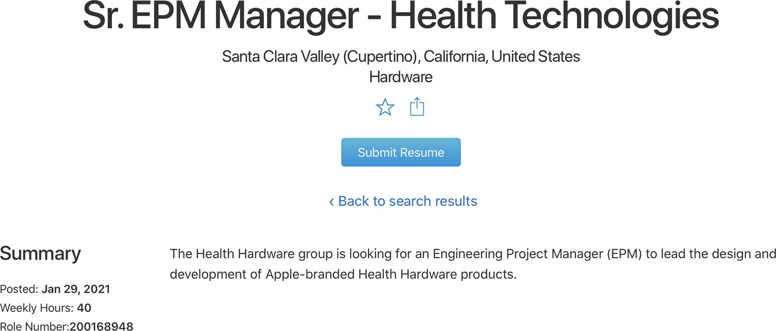 Offre d'emploi Apple produit Santé