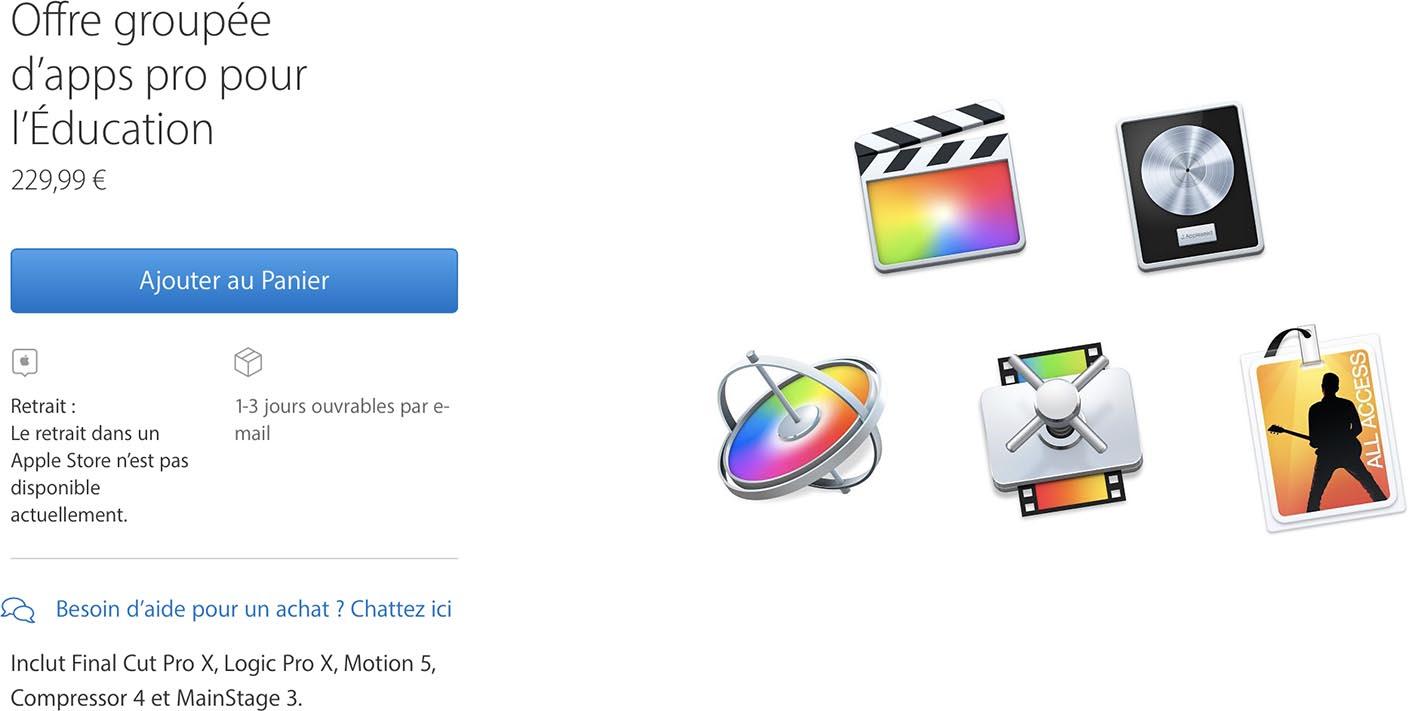 Pack logiciel Education Apple