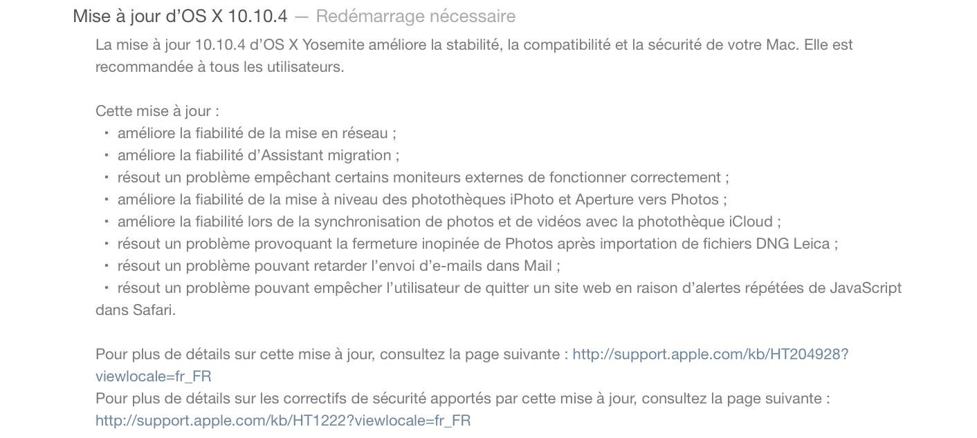 OS X 10.10.4 Mise � jour