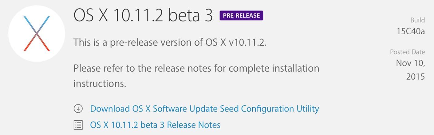 OS X 10.11.2 Bêta 3