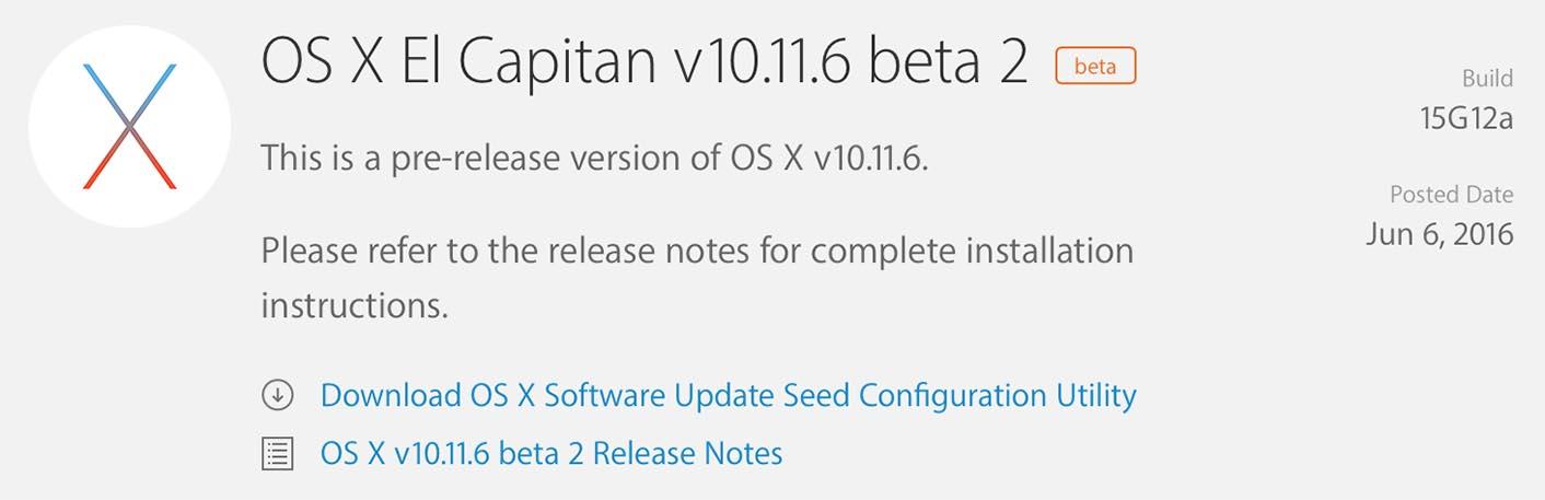 OS X 10.11.6 Beta 2