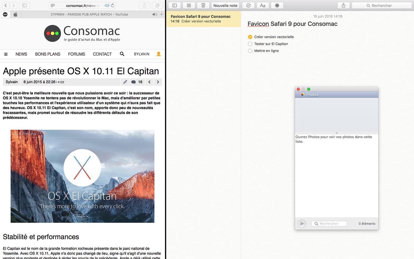 OS X El Capitan Split Safari Notes
