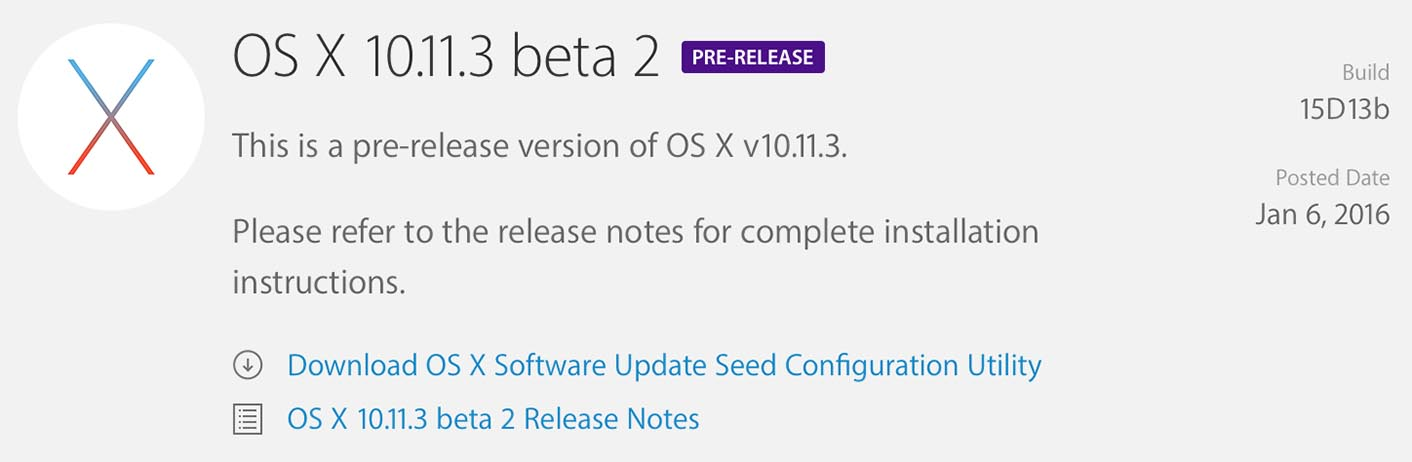 OS X 10.11.3 B�ta 2