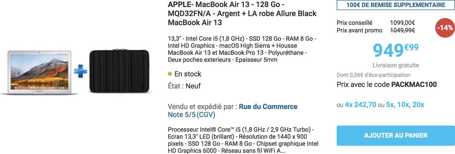 Pack MacBook Air housse Rue du Commerce