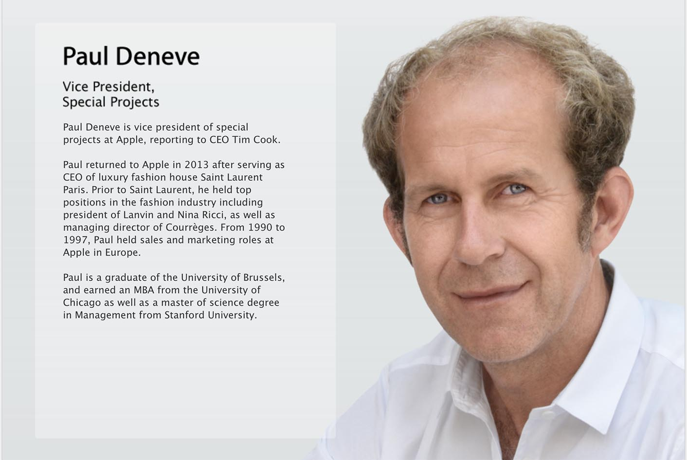 Paul Deneve biographie Apple