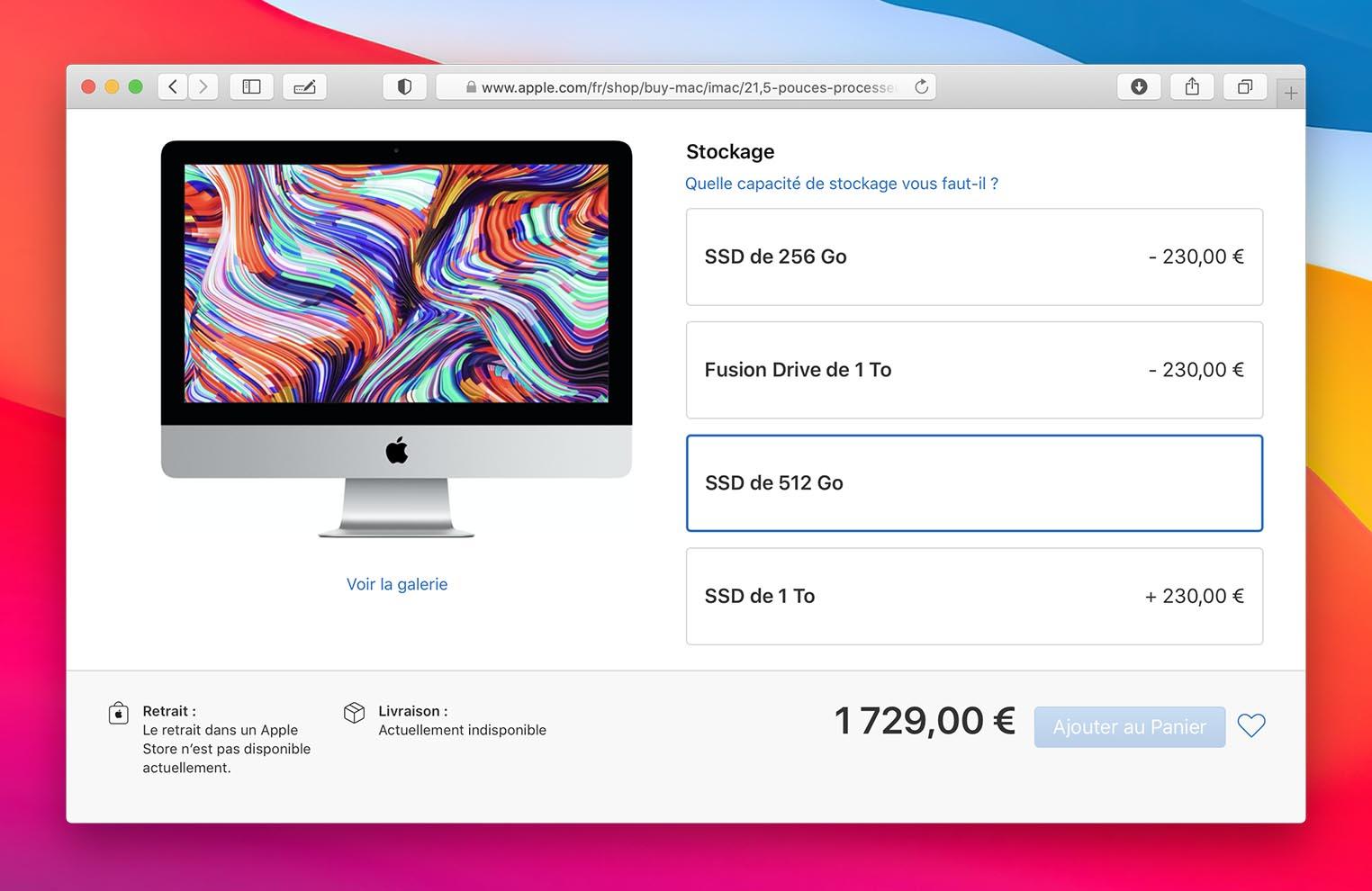 Pénurie SSD iMac 12,5 pouces Apple Store