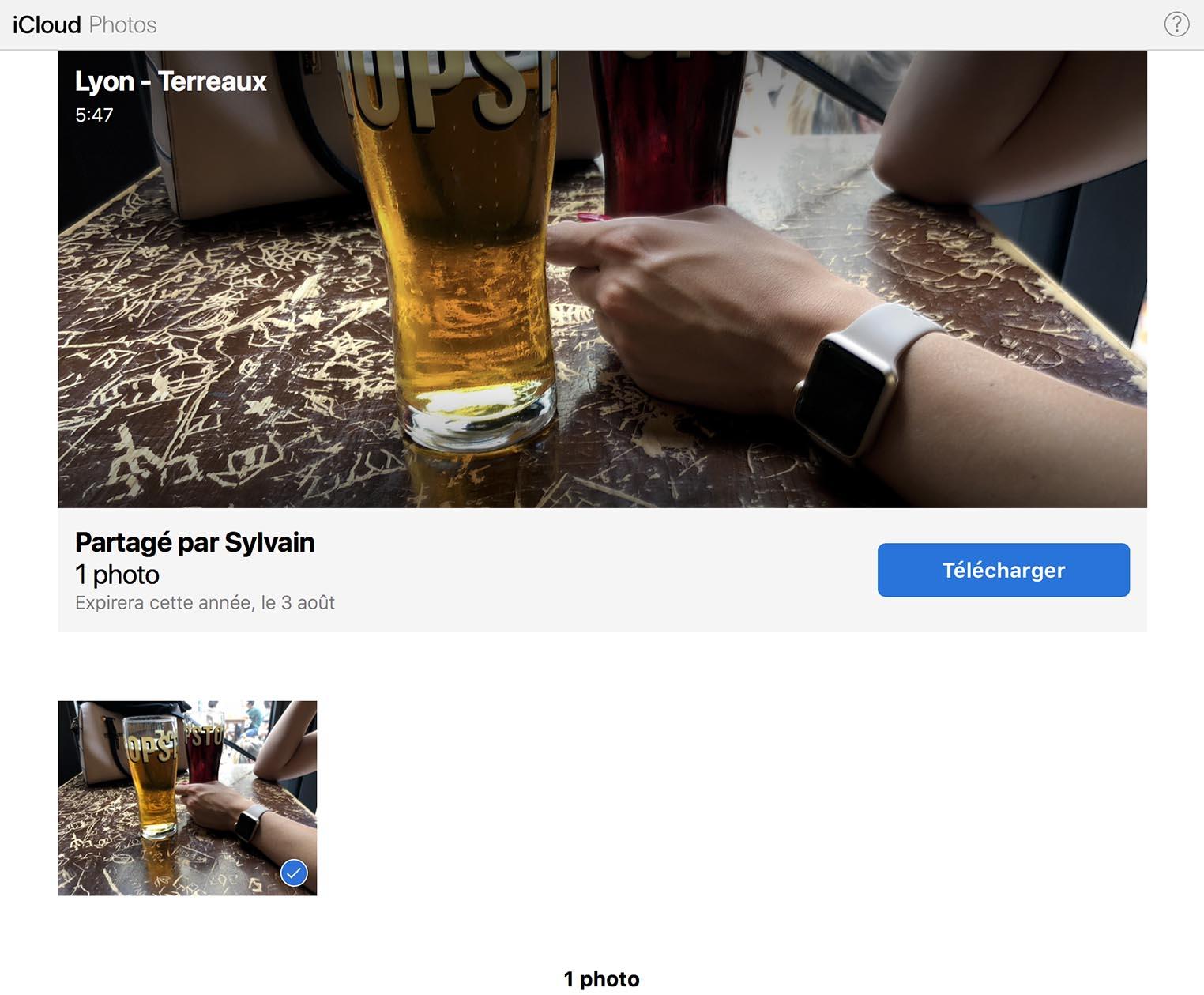 iOS 12 copier lien photos