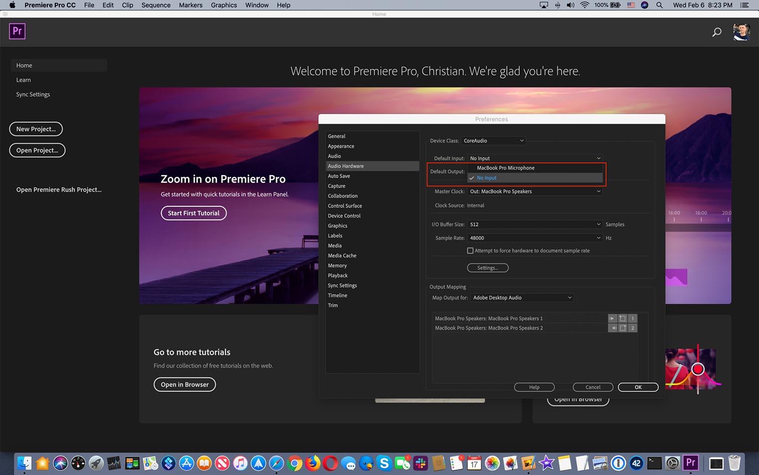 Premiere Pro CC bug MacBook Pro