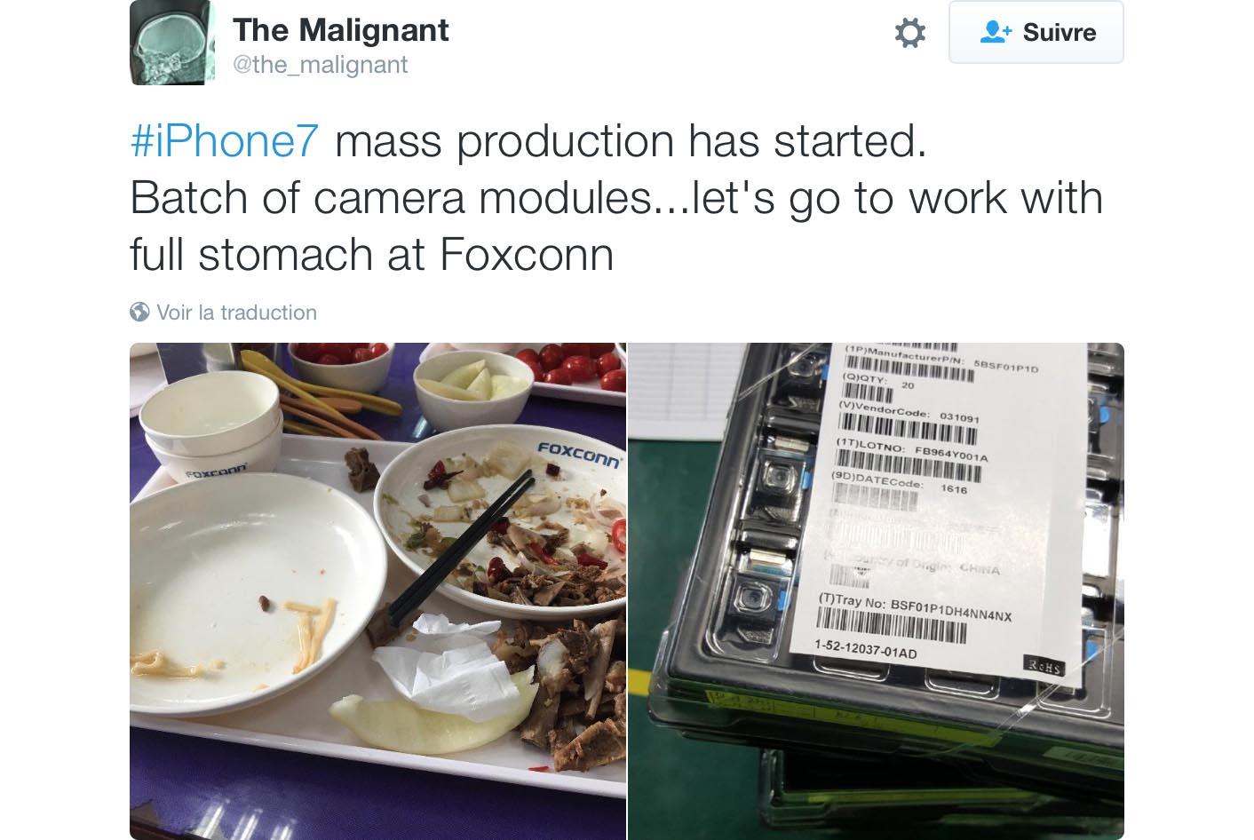 iPhone 7 production tweet