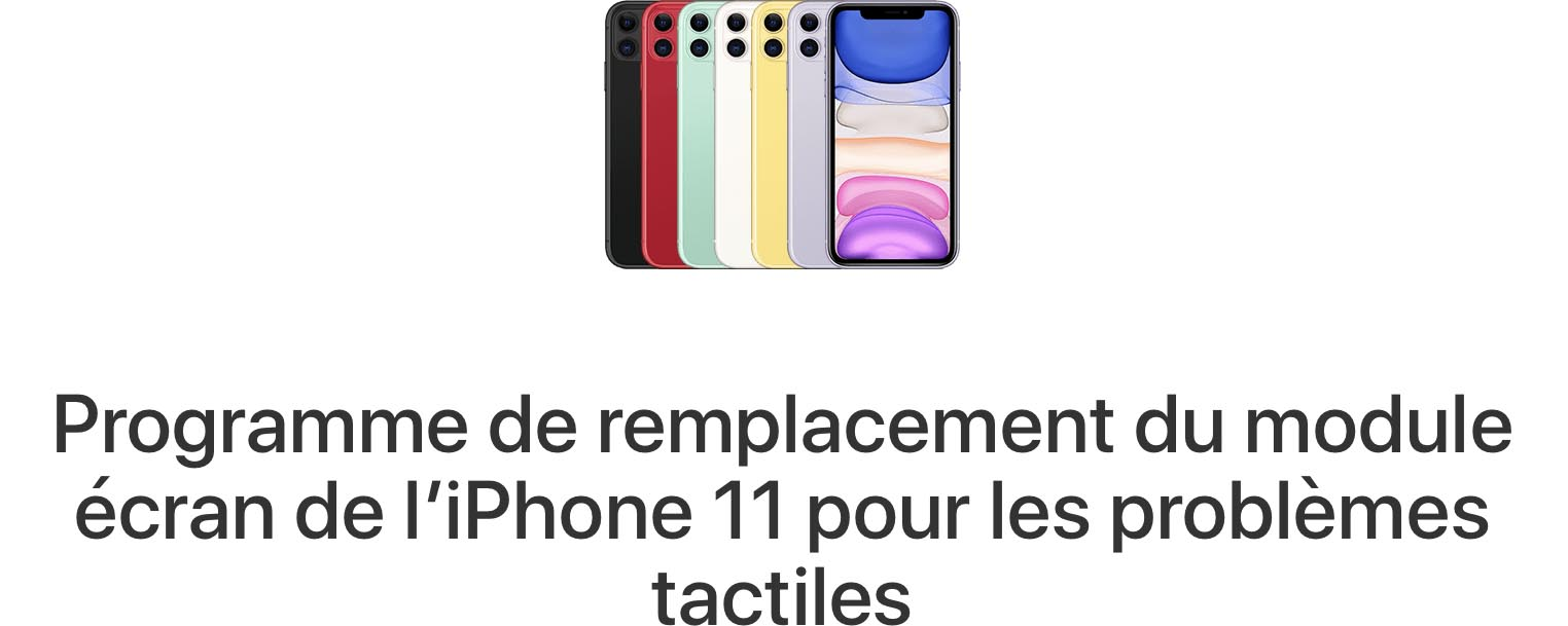 Programme remplacement tactile iPhone 11