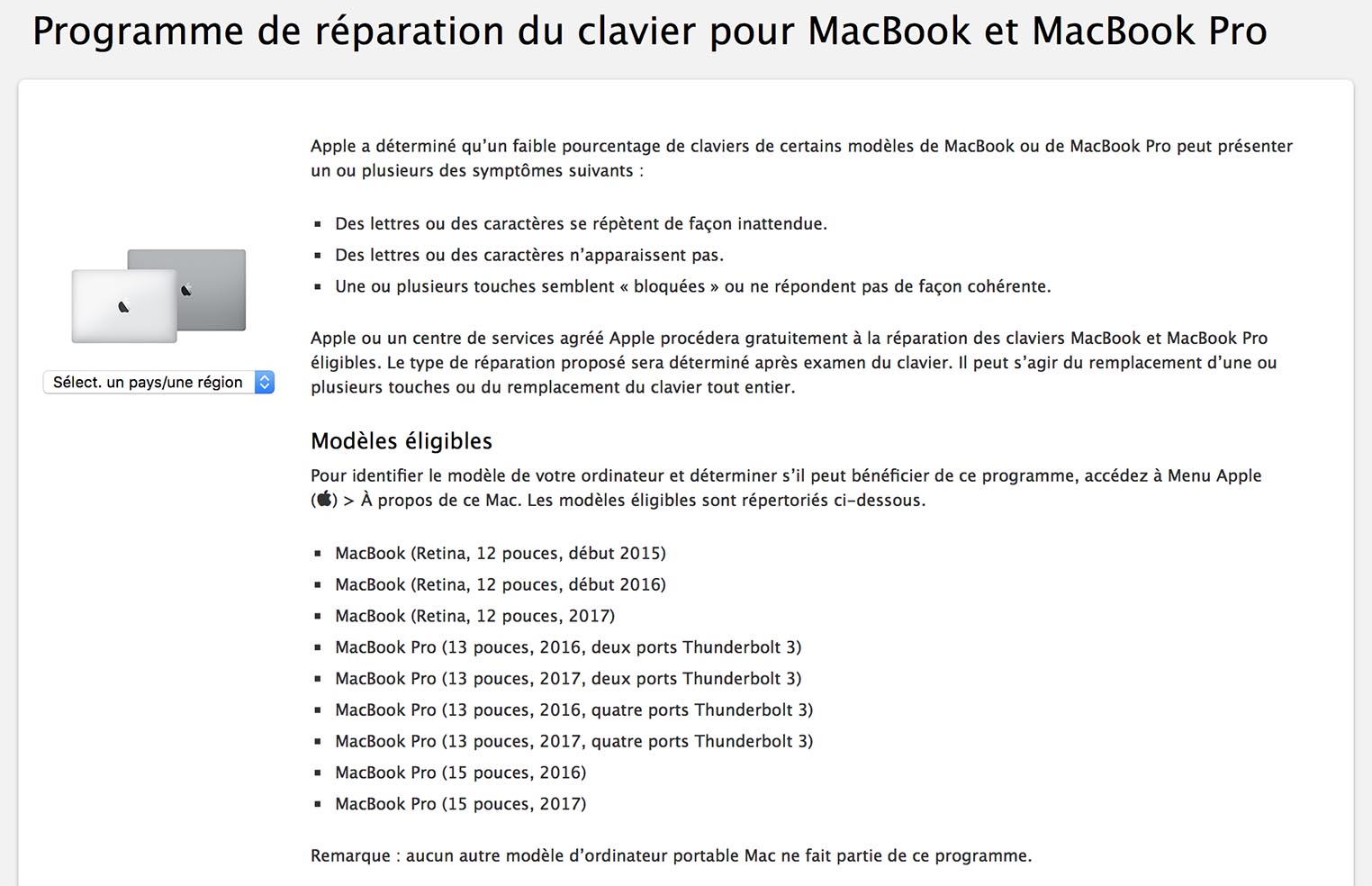 Programme réparation clavier papillon MacBook