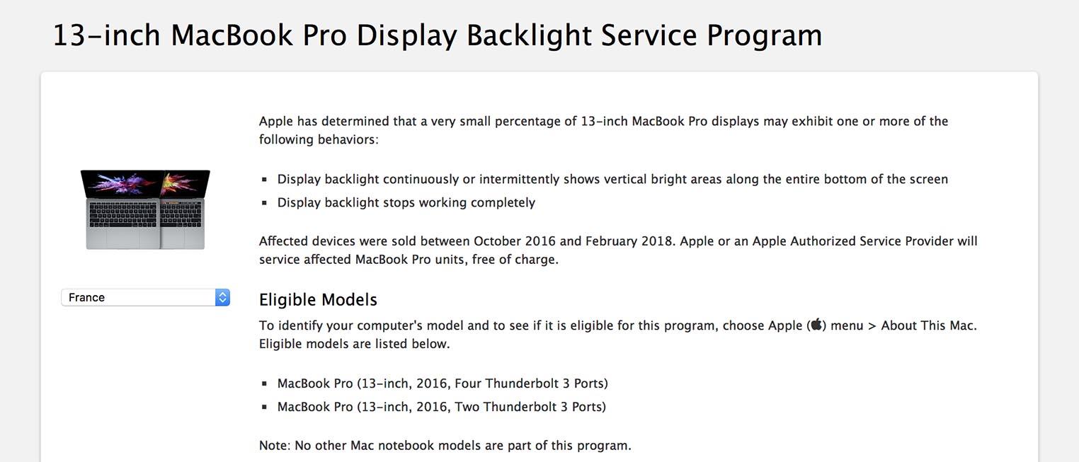 Programme réparation flexgate MacBook Pro 2016