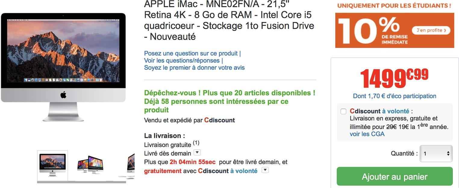 Promo iMac CDiscount