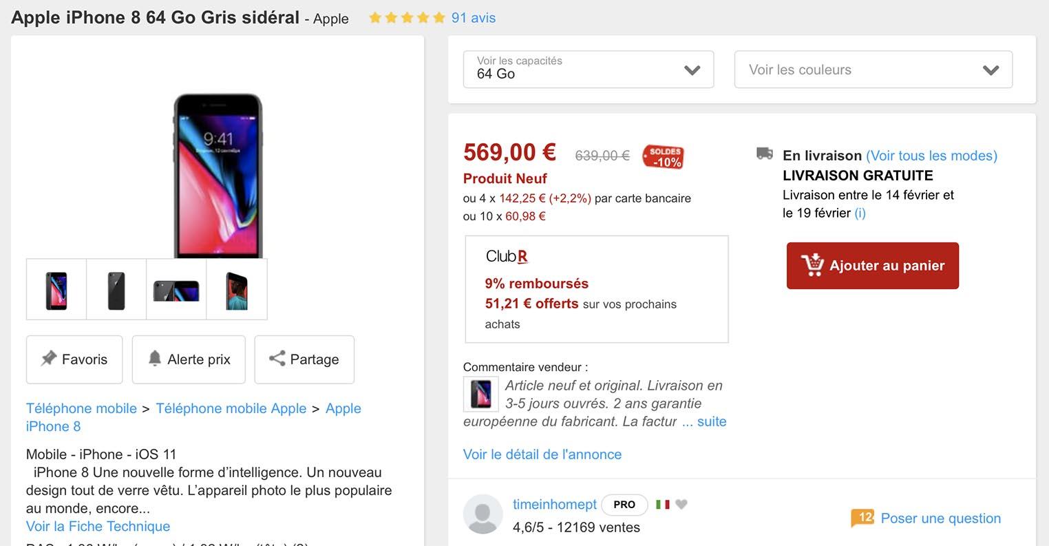 Promo iPhone 8 Rakuten