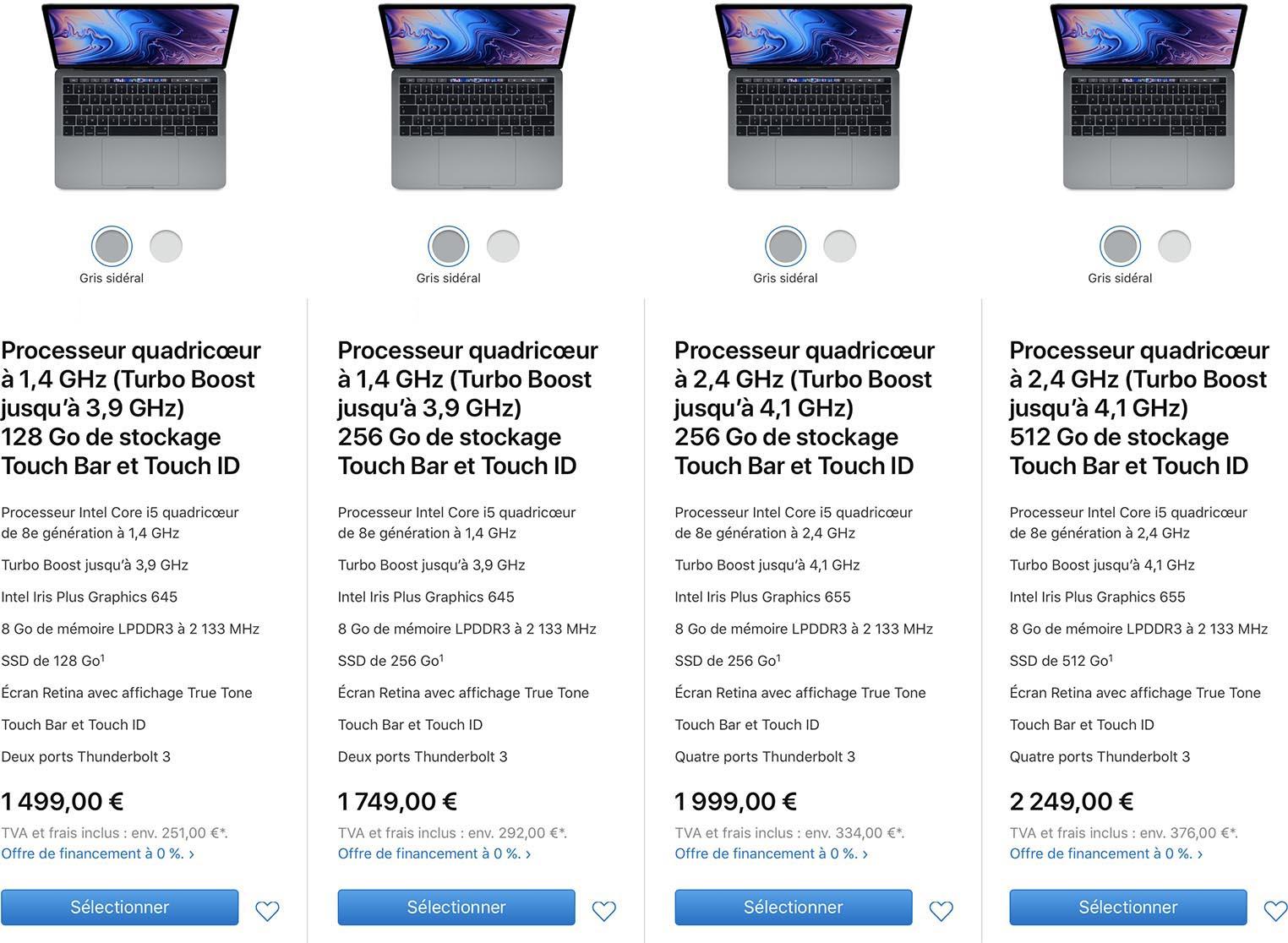 MacBook Pro 13,3 pouces 2019 caractéristiques techniques