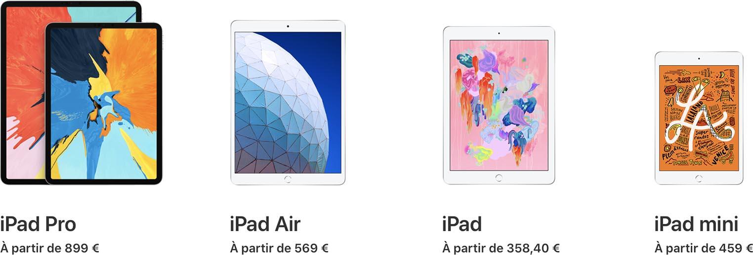 Gamme iPad 2019