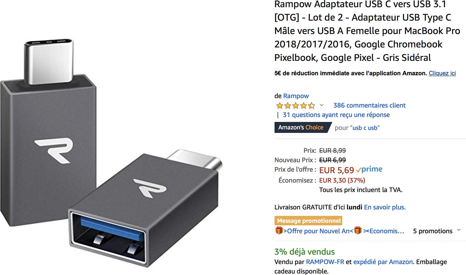 Adaptateur USB,C Rampow