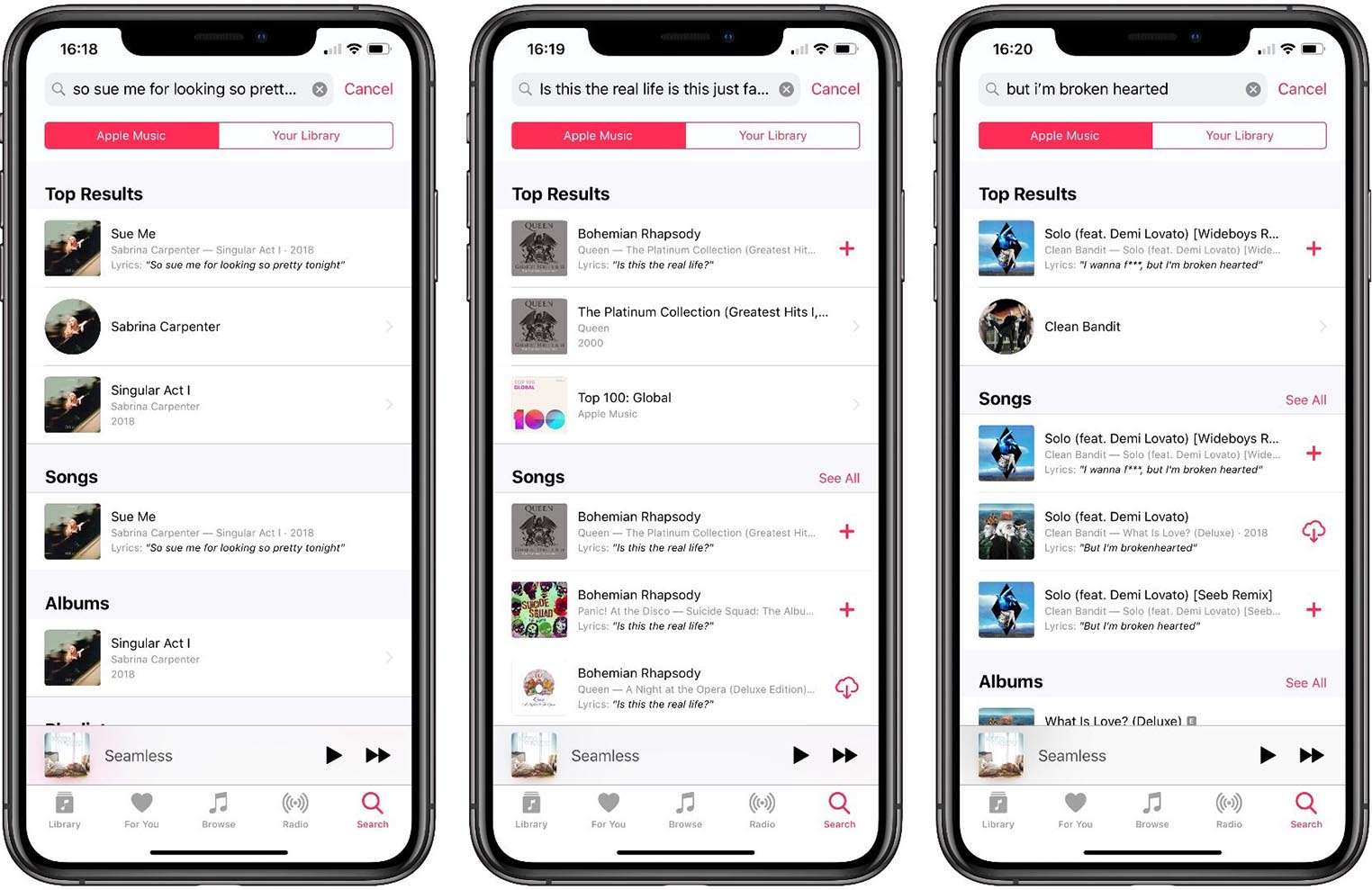 Recherche paroles Apple Music