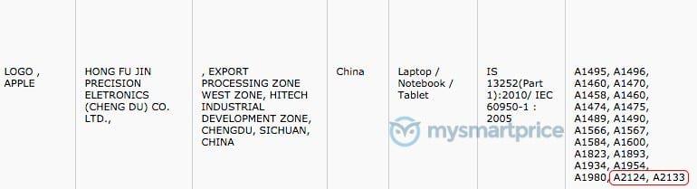 Références iPad A2124 A2133