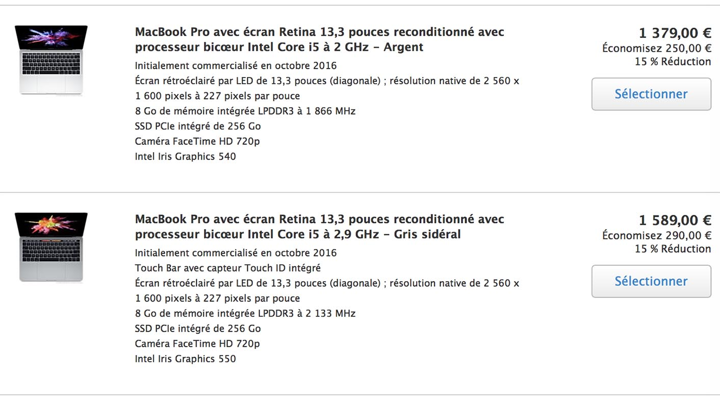 Refurb Store MacBook Pro 2016